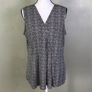 Dana Buchman Black/Creme Printed Sleeveless Top L